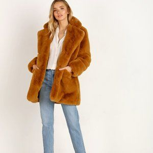APPARIS Sophie Chestnut Brown Faux Fur Coat